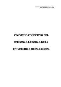 CONVENIO COLECTIVO DEL PERSONAL LABORAL DE LA UNIVERSIDAD DE ZARAGOZA
