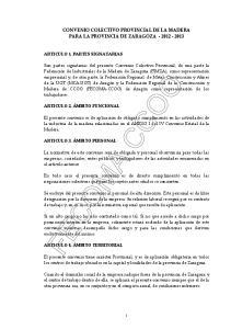 CONVENIO COLECTIVO PROVINCIAL DE LA MADERA PARA LA PROVINCIA DE ZARAGOZA