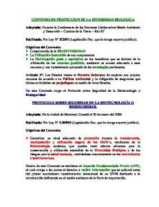 CONVENIO DE PROTECCION DE LA DIVERSIDAD BIOLOGICA