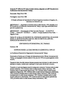 Convenio N 138 de la OIT sobre la edad mínima, adoptado en la 58º Reunión de la Conferencia Internacional del Trabajo