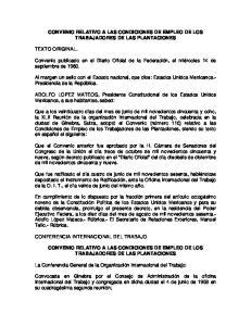 CONVENIO RELATIVO A LAS CONDICIONES DE EMPLEO DE LOS TRABAJADORES DE LAS PLANTACIONES