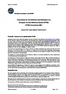 Conventions for the Definition and Realization of a European Vertical Reference System (EVRS) EVRS Conventions 2007