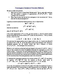 Convergence Analysis of Iterative Methods