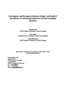 Convergence and divergence between students and teachers perceptions of instructional behaviour in Dutch secondary education