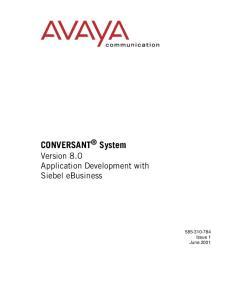 CONVERSANT System Version 8.0 Application Development with Siebel ebusiness