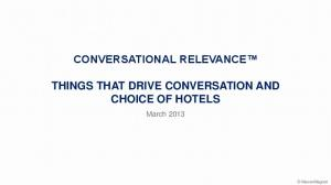 CONVERSATIONAL RELEVANCE THINGS THAT DRIVE CONVERSATION AND CHOICE OF HOTELS