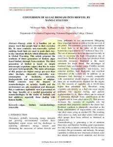 CONVERSION OF ALGAE BIOMASS INTO BIOFUEL BY NANO-CATALYSIS