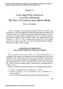 Converting Policy Research into Policy Decisions: The Role of Communication and the Media