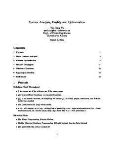 Convex Analysis, Duality and Optimization