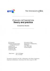 CONVEX OPTIMIZATION theory and practice