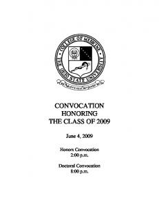CONVOCATION HONORING THE CLASS OF 2009