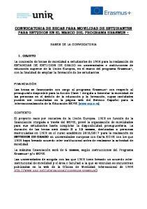 CONVOCATORIA DE BECAS PARA MOVILIDAD DE ESTUDIANTES PARA ESTUDIOS EN EL MARCO DEL PROGRAMA ERASMUS +