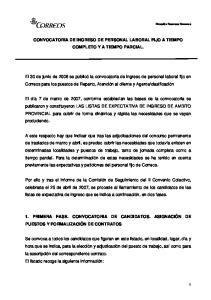 CONVOCATORIA DE INGRESO DE PERSONAL LABORAL FIJO A TIEMPO COMPLETO Y A TIEMPO PARCIAL