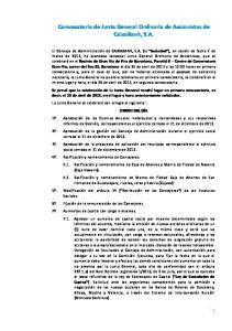 Convocatoria de Junta General Ordinaria de Accionistas de CaixaBank, S.A