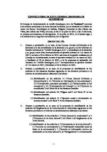 CONVOCATORIA DE JUNTA GENERAL ORDINARIA DE ACCIONISTAS