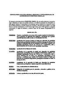 CONVOCATORIA DE JUNTA GENERAL ORDINARIA Y EXTRAORDINARIA DE ACCIONISTAS DE CEMENTOS LEMONA, SA