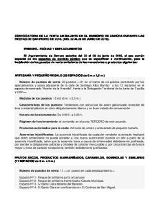 CONVOCATORIA DE LA VENTA AMBULANTE EN EL MUNICIPIO DE ZAMORA DURANTE LAS FIESTAS DE SAN PEDRO DE (DEL 22 AL29 DE JUNIO DE 2016)