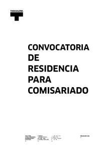 CONVOCATORIA DE RESIDENCIA PARA COMISARIADO