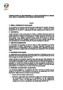 CONVOCATORIA DE SUBVENCIONES A CLUBES DEPORTIVOS DE CIUDAD REAL PARA EL DESARROLLO DE ESCUELAS DEPORTIVAS