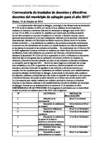 Convocatoria de traslados de docentes y directivos docentes del municipio de sahagún para el año 2015