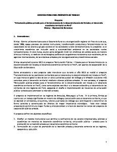 CONVOCATORIA PARA PROPUESTA DE TRABAJO