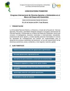 CONVOCATORIA PONENTES. Congreso Internacional de Ciencias Agrarias y Ambientales en el Marco del Desarrollo Sostenible