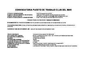 CONVOCATORIA PUESTO DE TRABAJO CLUB DEL MAR