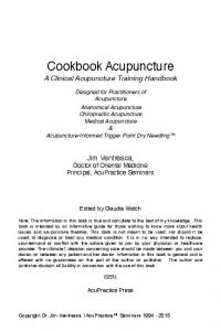 Cookbook Acupuncture A Clinical Acupuncture Training Handbook