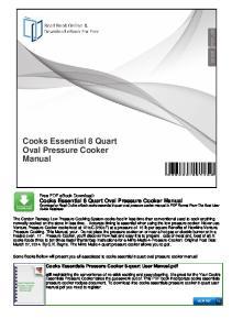 Cooks Essential 8 Quart Oval Pressure Cooker Manual