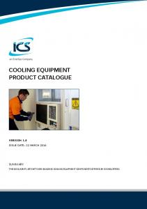 COOLING EQUIPMENT PRODUCT CATALOGUE