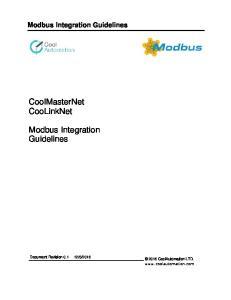 CoolMasterNet CooLinkNet. Modbus Integration Guidelines. Modbus Integration Guidelines