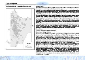 Coonawarra COONAWARRA VINTAGE OVERVIEW. Vintage Report. Overview of vintage statistics
