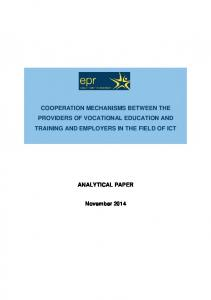 COOPERATION MECHANISMS BETWEEN THE PROVIDERS OF VOCATIONAL EDUCATION AND TRAINING AND EMPLOYERS IN THE FIELD OF ICT ANALYTICAL PAPER