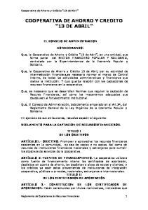 COOPERATIVA DE AHORRO Y CREDITO 13 DE ABRIL