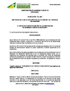 COOPERATIVA DE AHORRO Y CREDITO CREDICAFE