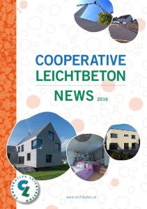 COOPERATIVE LEICHTBETON NEWS 2016
