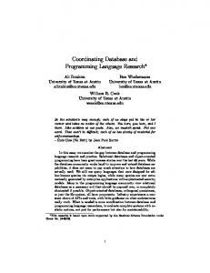 Coordinating Database and Programming Language Research