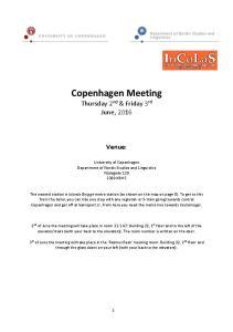 Copenhagen Meeting Thursday 2 nd & Friday 3 rd June, 2016