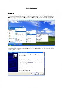 COPIAS DE SEGURIDAD. Windows XP