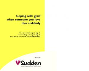 Coping with grief when someone you love dies suddenly