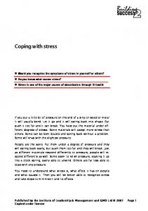 Coping with stress. Coping with stress