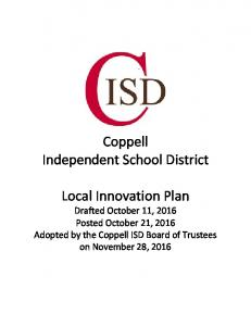 Coppell Independent School District. Local Innovation Plan