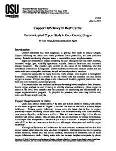 Copper Deficiency in Beef Cattle:
