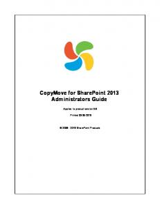 CopyMove for SharePoint 2013 Administrators Guide
