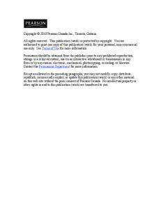 Copyright 2010 Pearson Canada Inc., Toronto, Ontario