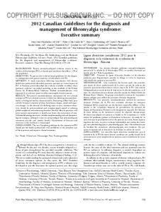 COPYRIGHT PULSUS original GROUP article INC. DO NOT COPY