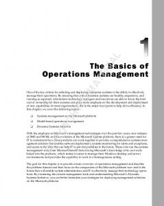 COPYRIGHTED MATERIAL. The Basics of Operations Management