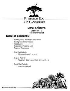 Coral Critters Grades 1-3 Teacher Packet