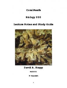 Coral Reefs. Biology 200. Lecture Notes and Study Guide