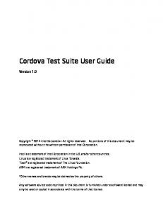 Cordova Test Suite User Guide